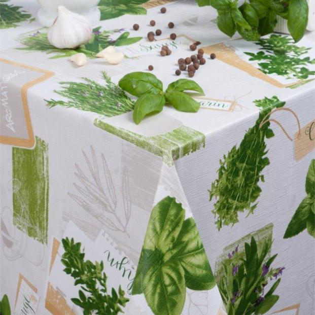 Basilikum Lysgrå, voksdug med krydderurter og let præget overflade