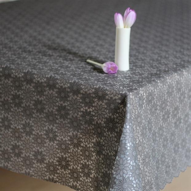 Blondevoksdug lille blomst antracit