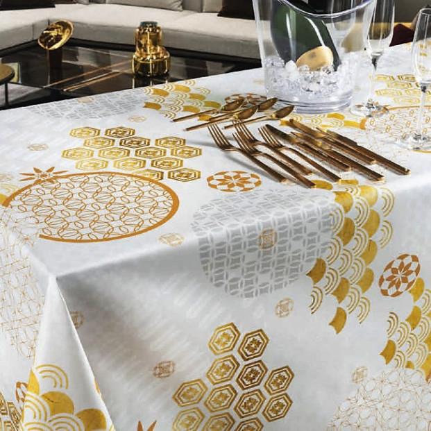 Festival - Voksdug til fest med guld mønster