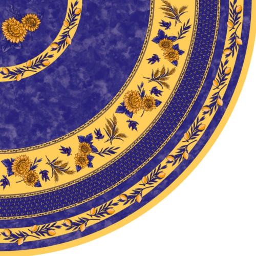 Blå Provence voksdug - Rund Ø 155 cm.