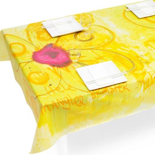 Poul Pava voksdug - Flowers gul