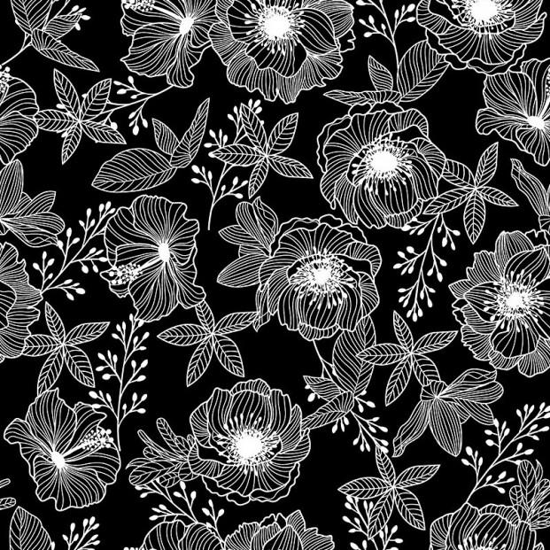 Filligranhaven Hvid - Voksdug med blade og blomster i hvid på sort bund