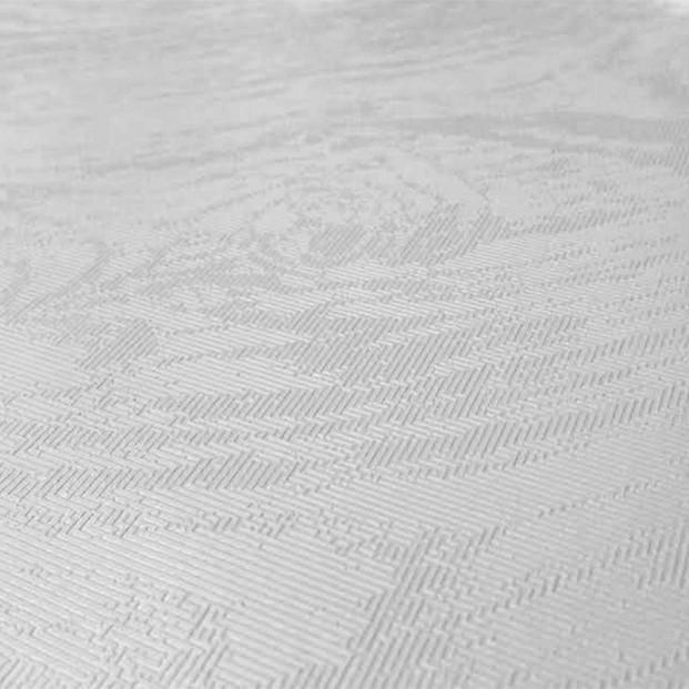 Fiona, ensfarvet hvid voksdug med struktur og elegant og diskret mønster