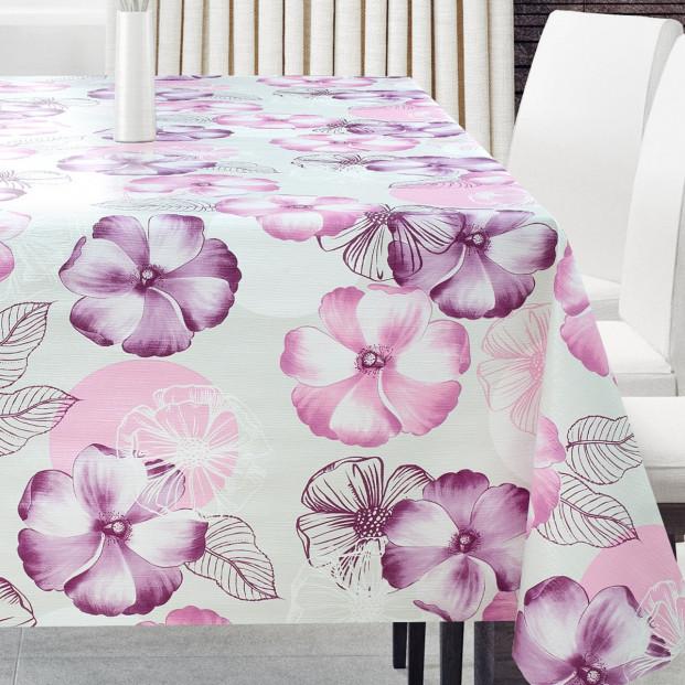 Forglemmigej Lilla/Pink, voksdug med blomster og let præget overflade
