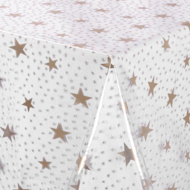 Gennemsigtig voksdug trykt med guld stjerner, klar plast folie, 140 cm bred