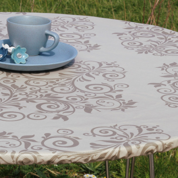 Humleornamenter Beige - rund voksdug med elastik - Til bord Ø 60  - Ø 130 cm