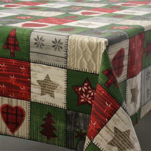 Juledug Scandy, akryldug med julemotiver i firkanter - 155 cm bred