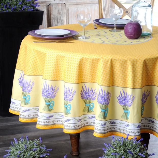 Lavande gul, rund provencedug Ø 180 cm