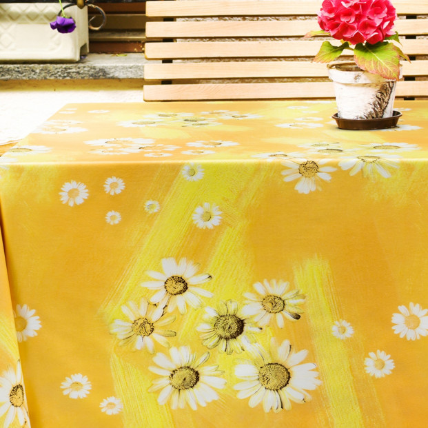Margueritter i solskin, voksdug i sommer stemning