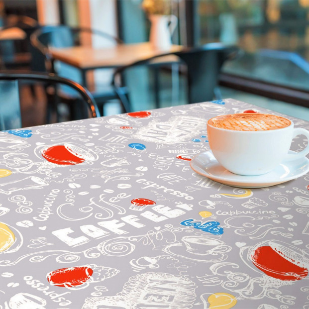 New Day Grey  - Voksdug med kaffe, cappuccino og en lille, stærk espresso