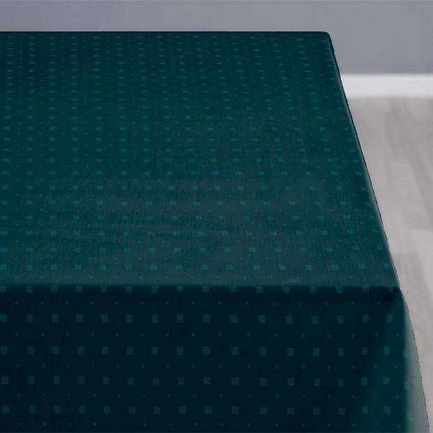 Södahl Squares Teal, damastvävd akrylatbehandlat textilduk, halkfri