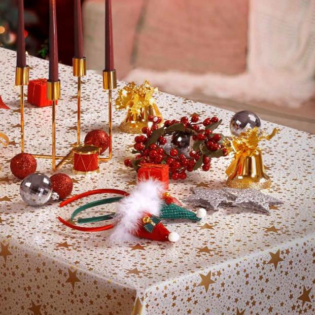 Julevoksdug - Ensfarvet voksdug metalic platin guld