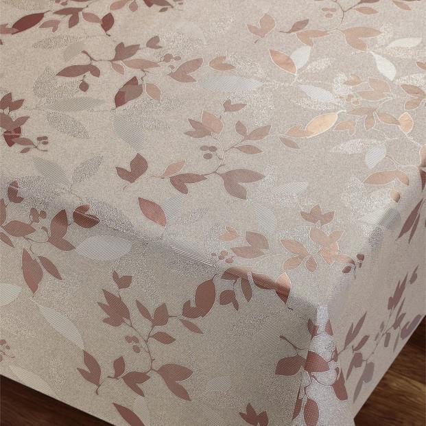 Rose Golden Beige Leaves - Flot damask præget voksdug