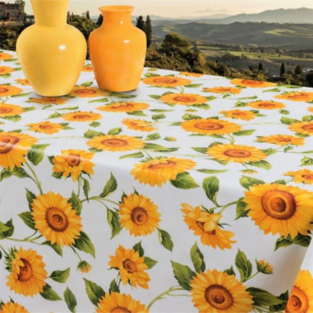 Solsikker - Voksdug i gule og orange farver på hvid bund, 160 cm bred