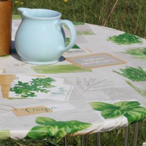 Basilikum Grå - rund voksdug med elastik - Til bord Ø 60  - Ø 130 cm
