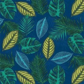 Blad-Kvintet - Voksdug i grønne- og blålige nuancer med gule toner