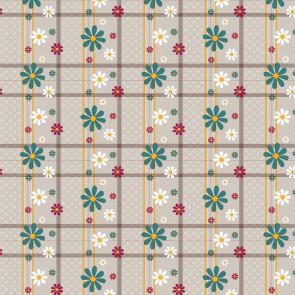 Blomstertern - Voksdug med kulørte blomster i tern