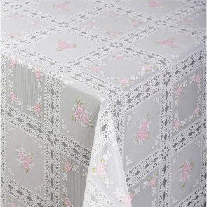 Blondevoksdug, blondedug med rose i kvadrater - Hvid/pink