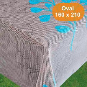 Capri Grå Turkis sommerdug, oval 160 x 210 cm