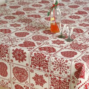 Christmas Heart - Juledug i hørlook med akryl belægning