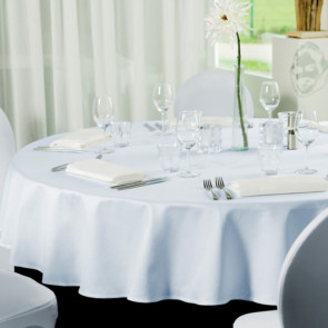 Gastro Ø 160 cm, rund dug 100 % polyester hvid
