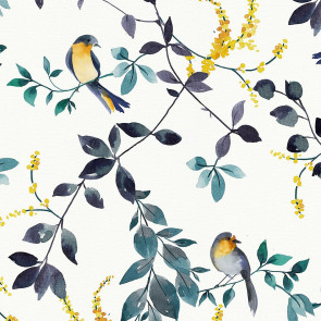 Forårsfugle - Voksdug i blå- og grønlige farver med gult stænk