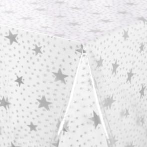 Gennemsigtig voksdug trykt med sølv stjerner, klar plast folie, 140 cm bred