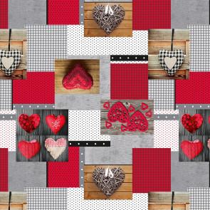 Hjertensfryd - voksdug med hjerter i røde farver