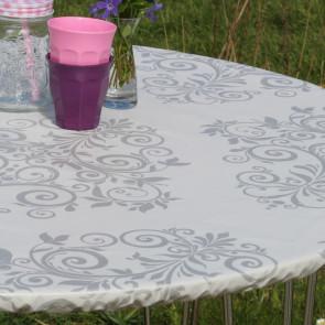Humleornamenter Grå - rund voksdug med elastik - Til bord Ø 60  - Ø 130 cm