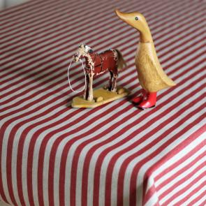 Juledug Rød Strib hør look - akryldug i hørlook med teflon