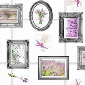 Lavendel Museet, voksdug med lavendel motiver i rammer