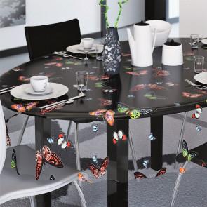 Lilith, gennemsigtig voksdug, klar plastdug med kulørte sommerfugle