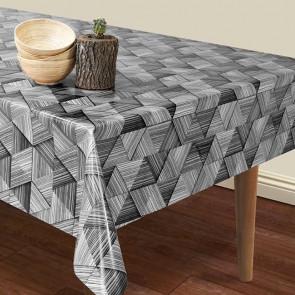 Mosaik - Voksdug med grafisk mønster i sorte og hvide nuancer