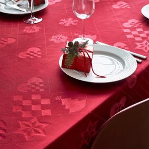 Juna Juledug Natale, flot damaskdug i rød - 150 cm x 370 cm