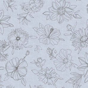 Palmas grå, voksdug med flotte stregtegninger