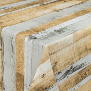 Planker Grå-Beige - Rund voksdug med elastik