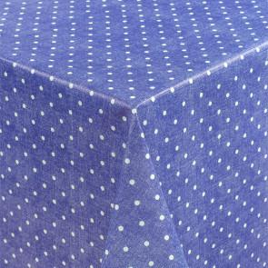 Polkaprikker på blå bund - Rund voksdug med elastik