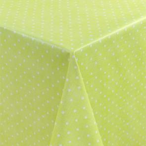 Polkaprikker på grøn bund - Rund voksdug med elastik