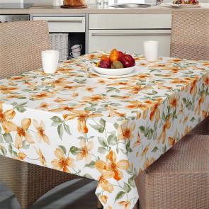 Rivendel - Voksdug med orange blomster
