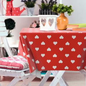 Romance, rød voksdug med hvide hjerter