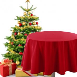 Rund juledug - ensfarvet rød, Ø 180 cm