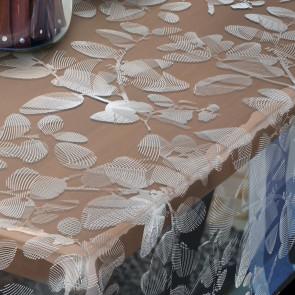 Sally, klar plast gennemsigtig voksdug med hvid stregblomst