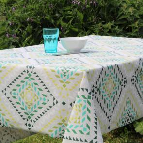Smalts Grafiske Stjerner - grøn, Laura Lancelle akryldug - 150 cm bred