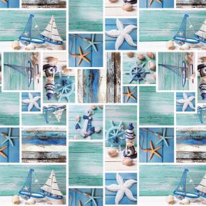 Strandliv - Voksdug med maritime motiver, 160 cm bred