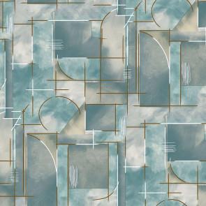 Voksdug Abstrakt Blå - Som et maleri i blålige farver med gyldne striber