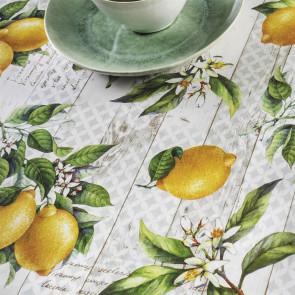 Citronlunden - Voksdug med citroner, 160 cm bred