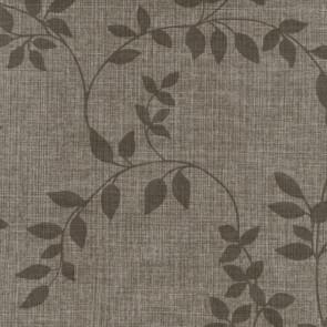 Voksdug Linette Robust Leaf, brun hørlook med blad mønster, 140 cm bred
