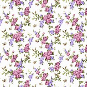Pink Roses On Lilac - Voksdug med blomster