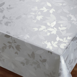 Silver Garden Leaves - Flot damask præget voksdug
