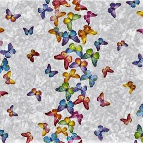 Voksdug med sommerfugle på række og i mange farver